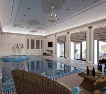 Дизайн бассейна с джакуззи в частном доме