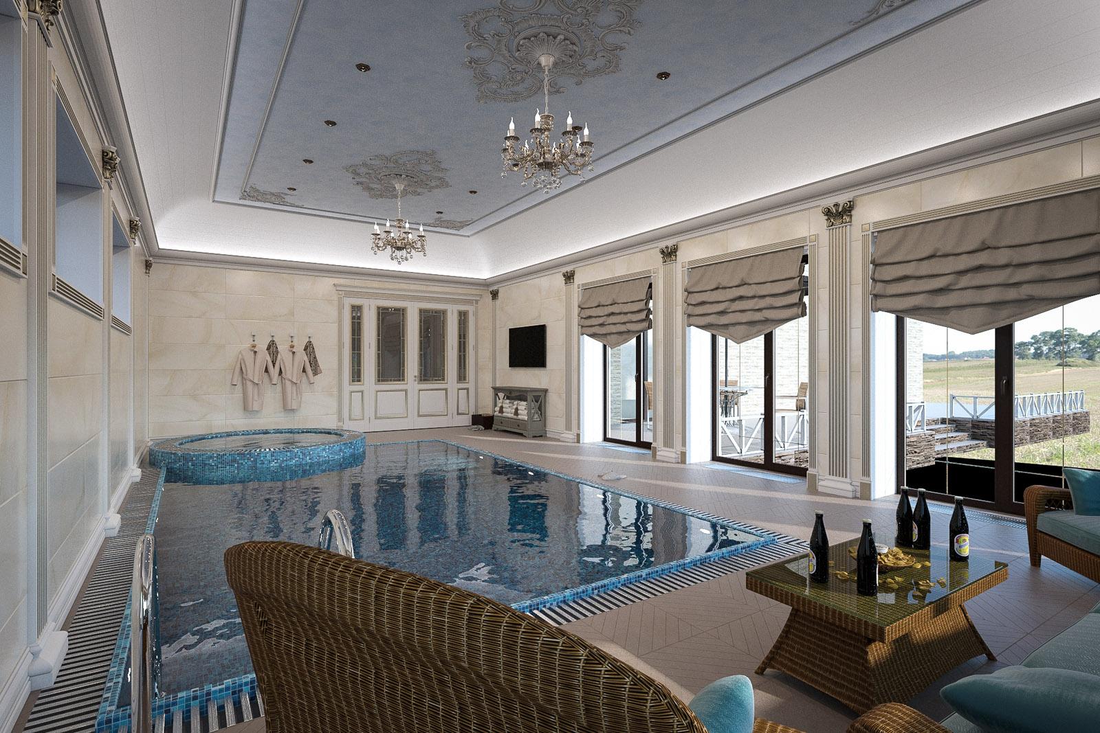 Картинки комнаты с бассейном